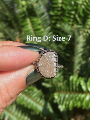 Quartz Druzy Sterling Silver Rings