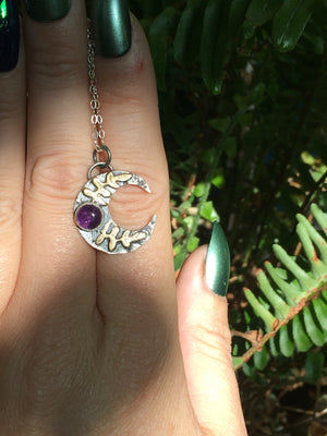 Small Amethyst Sterling Silver & Brass Crescent Moon Pendant
