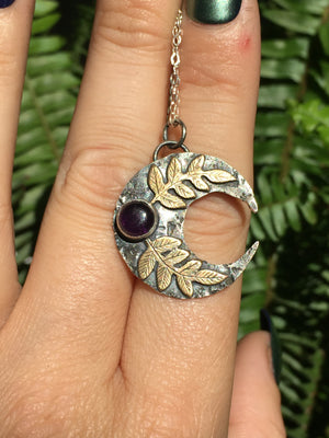 Large Amethyst Silver & Brass Crescent Moon Fern Pendant