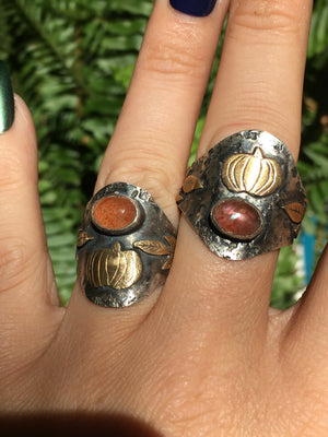 Sunstone Pumpkin Sterling Silver Saddle Ring