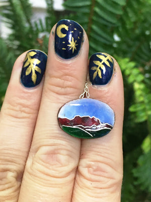 Copper Enamel Cloisonné Mountains Pendant