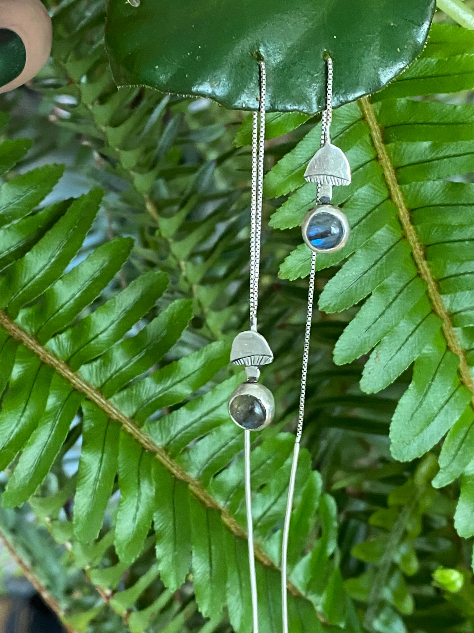 Labradorite and Mushroom Threader Earrings