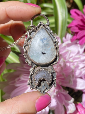 Moonstone & Quartz Druzy Moon Pendant