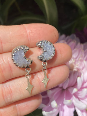 Quartz Moon Dangle Studs