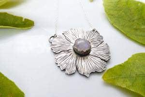 Moonstone Engraved Flower Sterling Silver