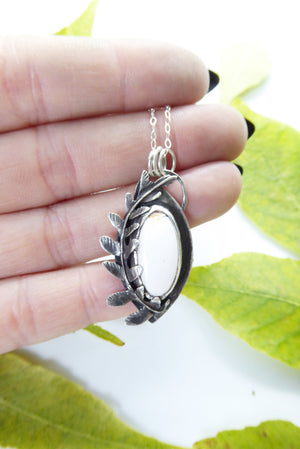 White Buffalo Turquoise Northern LadyFern Leave Pendant Sterling Silver