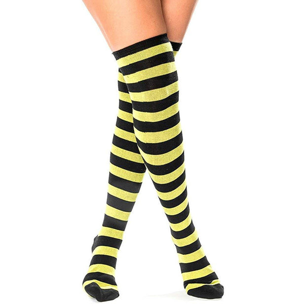Women's Striped Thigh High Socks