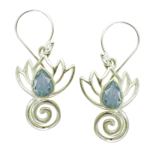 Lotus Swirl Earrings with Healing Stone - Sterling Silver