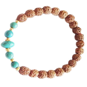 Turquoise Magnesite & Gold 7mm Rudraksha Beads Stretch Bracelet