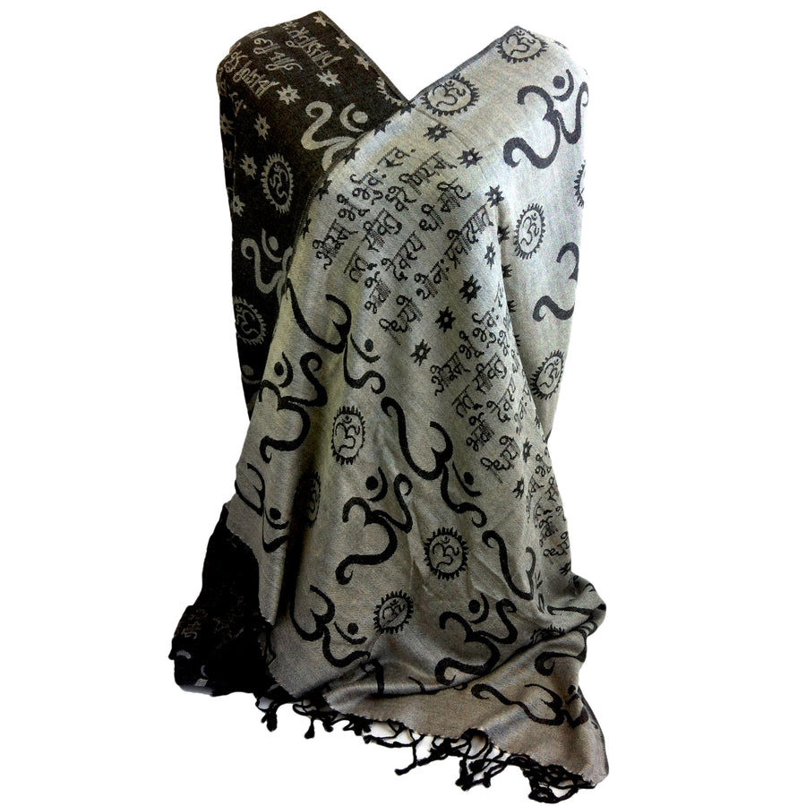 Gayatri Mantra & Om Mantra Prayer Shawl & Yoga Wrap