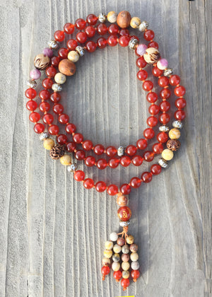 Peace and Happiness Mala: Carnelian, Carved Lotus Seed, Tourmaline, Crazy Lace Agate