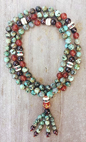 Energy to Love and Grow Mala: African Turquoise Jasper, Garnet, Carnelian, Yak Bone