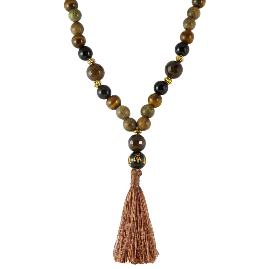 Black Tiger Mala - Tigers Eye & Black Onyx with Agar Wood (Aloe)