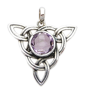 Celtic Trinity Knot Large (Triquetra) Pendant Healing Stone Sterling Silver