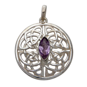 Celtic Knot Shield Pendant with Faceted Crystal - Sterling Silver