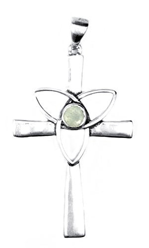 Celtic Cross Trinity Sterling Silver Pendant with Healing Stone