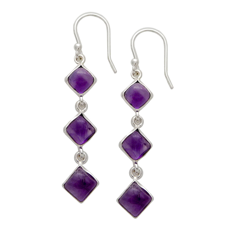 Square Crystal Drop Earrings  - Sterling Silver