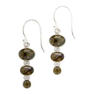 Oval Crystal Drop Earrings  - Sterling Silver