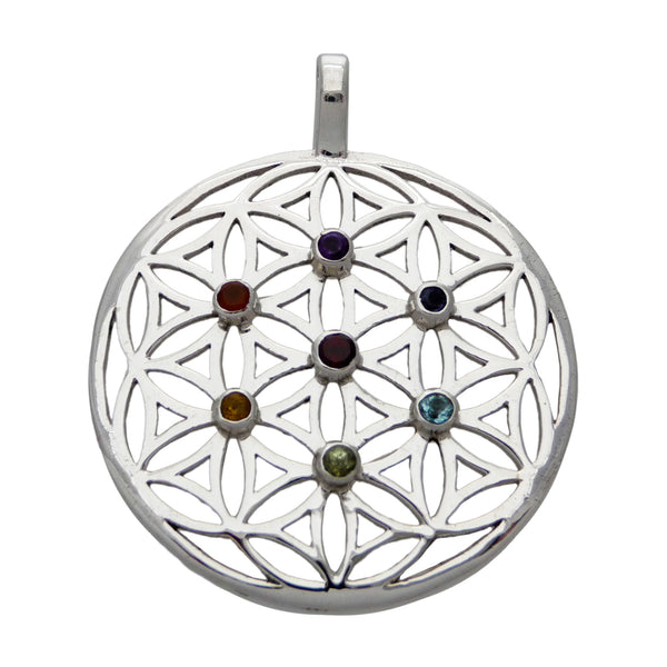 Flower of Life & Chakra Healing Stones Pendant  - Sterling Silver