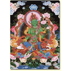 Green Tara Thangka Altar Card