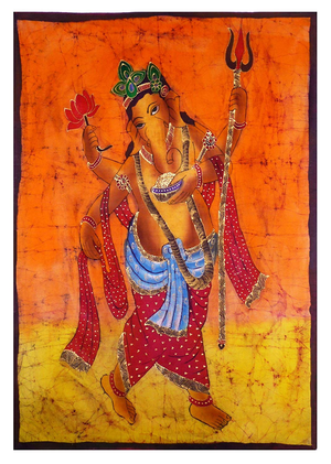 Ganesh Batik  Wall Hanging with Gold Accents