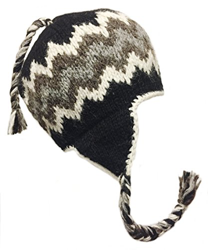 Sherpa Hat with Ear Flaps, Heavy Wool Fleece Lined - Zig Zag Design