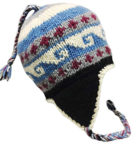 Sherpa Hat with Ear Flaps, Heavy Wool Fleece Lined - Wave Design