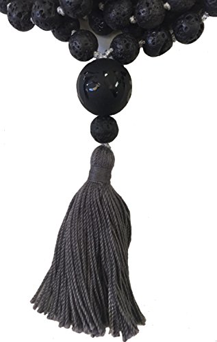 Lava Hand Knotted Mala with Onyx Om Mani Padme Hum Etched Guru Bead - 108 Beads