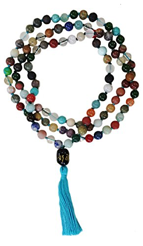 Prosperity Mala - Onyx Beads, Hand Knotted with Om Mani Padme Hum Painted Guru Bead