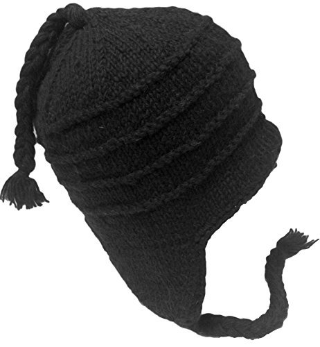Sherpa Hat with Ear Flaps, Heavy Wool Fleece Lined - Ridge Design