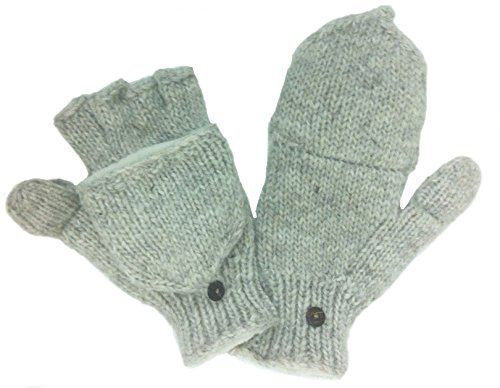 100% Wool, Fleece Lined, Glove Mitten with Flaps for Texting