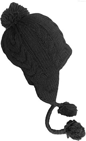 Sherpa Hat with Ear Flaps, Heavy Wool Fleece Lined - Cable Design