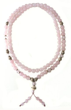 Kuan Yin Mala - Rose Quartz, Lotus Seed & Clear Faceted Quartz