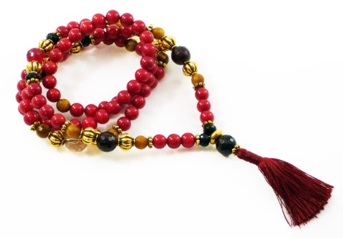 Lakshmi Mala - Red Coral, Garnet, Citrine, Tiger's Eye & Black Onyx Beads