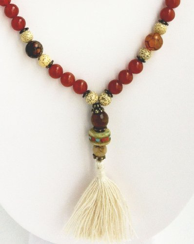 Ganesh Mala - Carnelian, Spider Agate, Bodhi Seeds, Lotus Seeds & Faceted Agate
