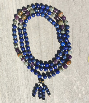 Justice & Intuition Mala: Lapis, Amethyst, Labradorite, Moss Agate, Black Onyx