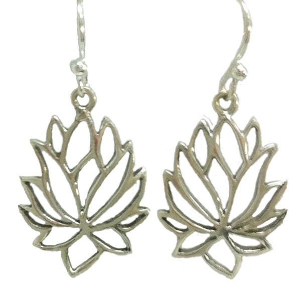 Lotus Flower Earrings - Sterling Silver