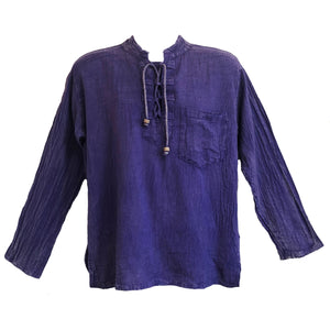 Mandarin Neck Lace Up Kurta - 100% Hand Loomed Cotton