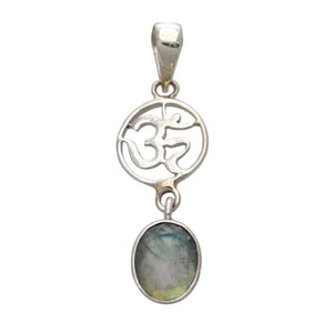 Om Mandala Pendant with Faceted Healing Crystal Oval Drop  - Sterling Silver