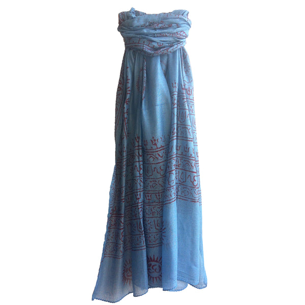 Om Mantra Hand Block Printed Prayer Scarf