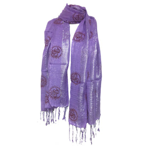 Om Yoga Scarf with Silver Threads