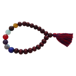 Natural Wood & Crystal Stretch Mala Bracelets