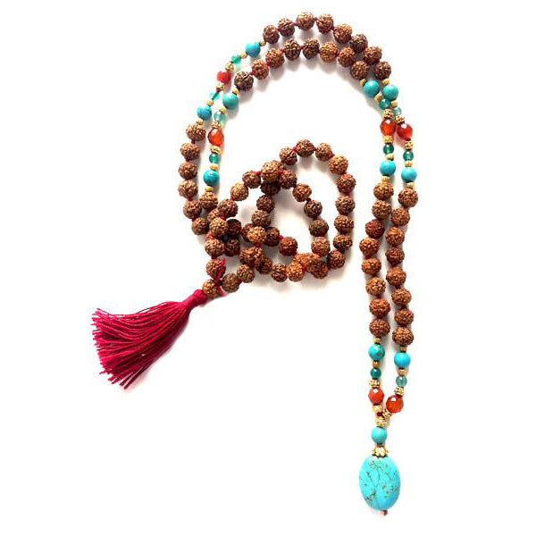 Golden Light Turquoise & Carnelian Mala - 7mm - 108 Beads - Top Quality