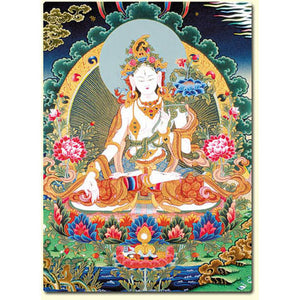 White Tara Thangka Altar Card