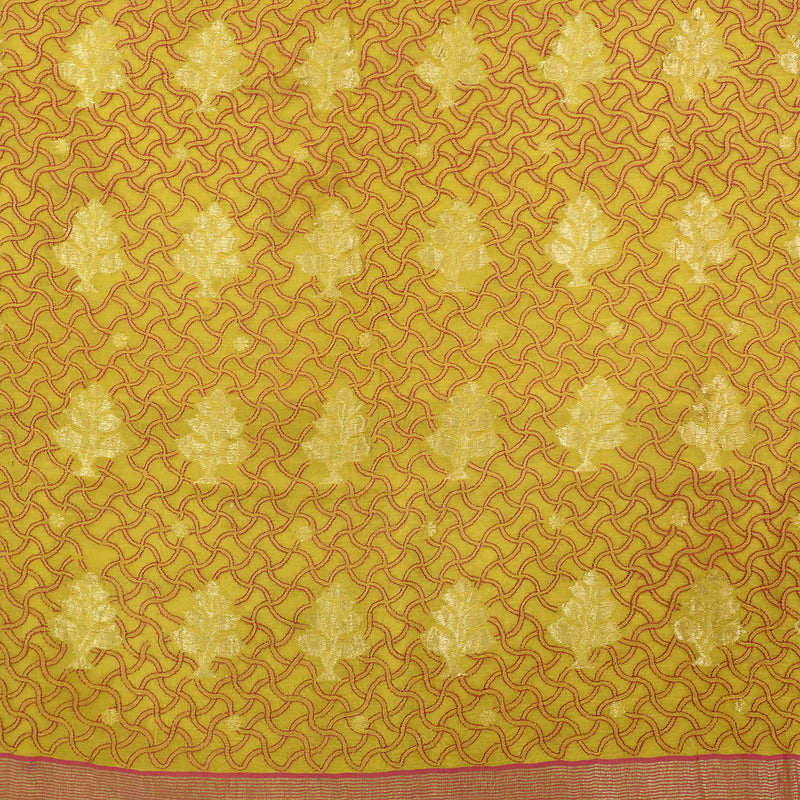 Yellow Chikankari Work Pure Chanderi Silk Saree - Khinkhwab