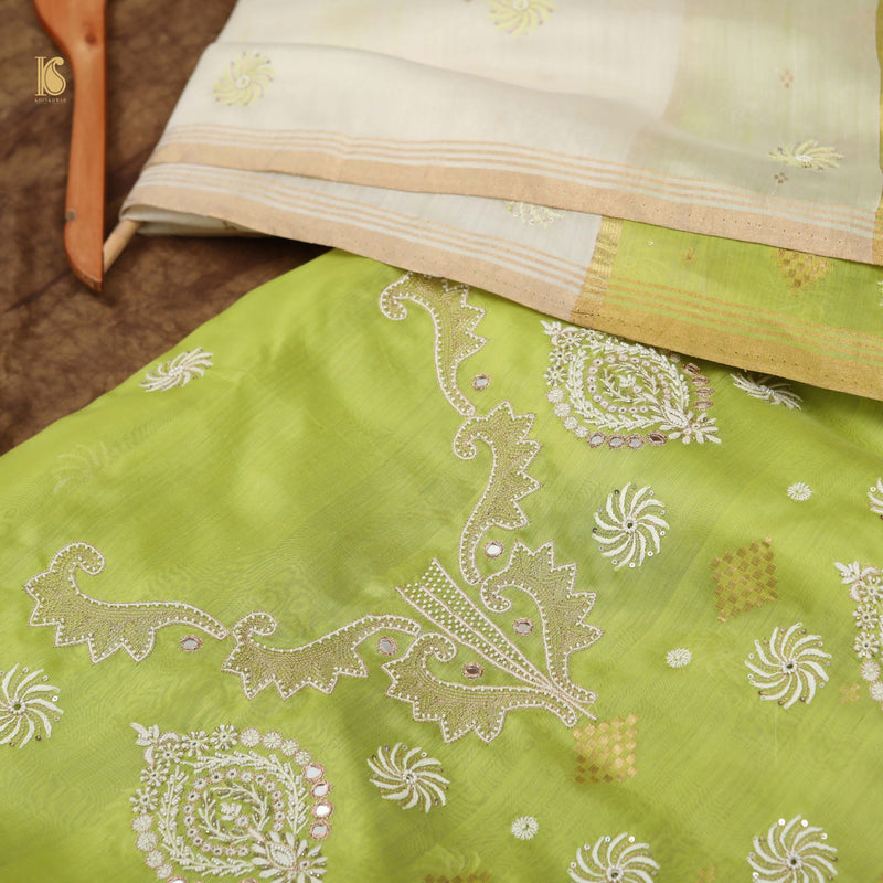 Hand Embroidered Chikankari Green Pure Handloom Chanderi Silk Fabric Set - Khinkhwab
