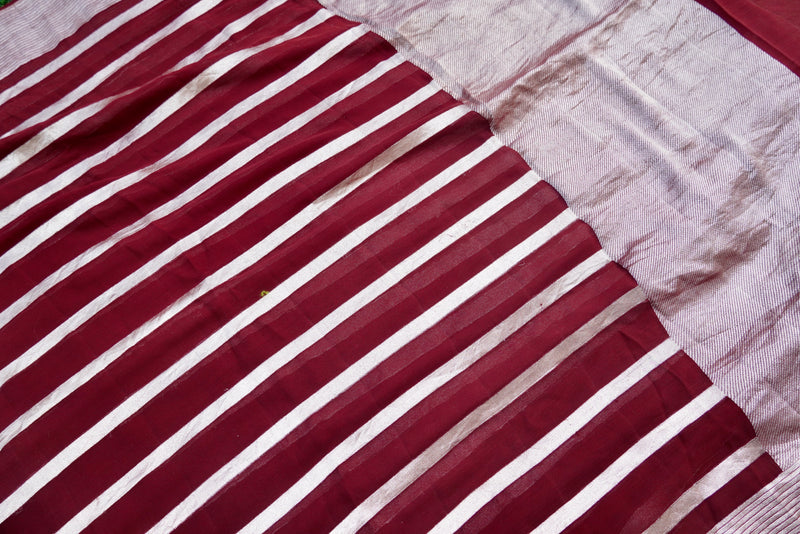 Pure Georgette Handloom Stripes Banarasi Saree - Khinkhwab