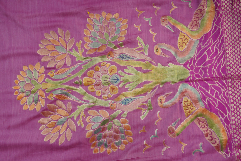 Handloom Banarasi Purple Moonga Silk Hand Brush Saree - Khinkhwab