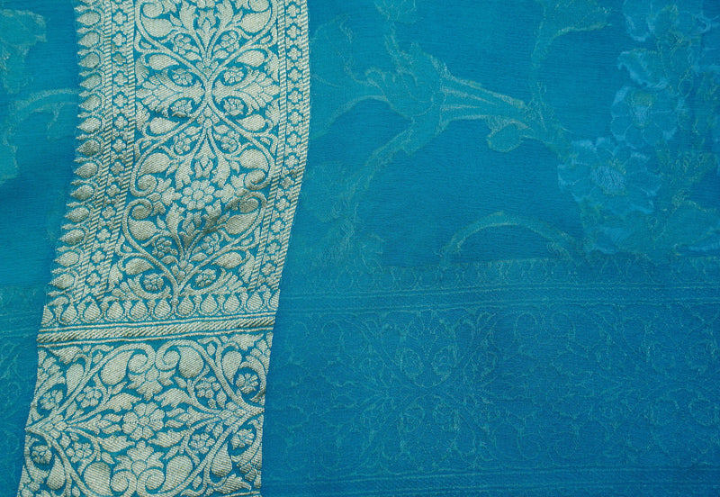 Sea Green Pure Georgette Silk Banarasi Saree - Khinkhwab