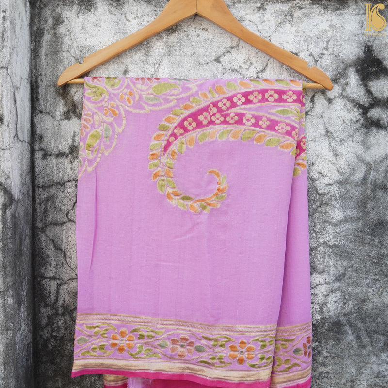 Handloom Banarasi Purple Georgette Hand Brush Dupatta - Khinkhwab